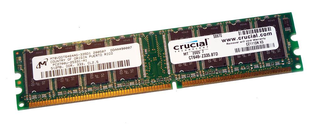 Crucial CT6464Z335.8TD (512MB DDR PC2700U 333MHz DIMM 184-pin) 8C RAM